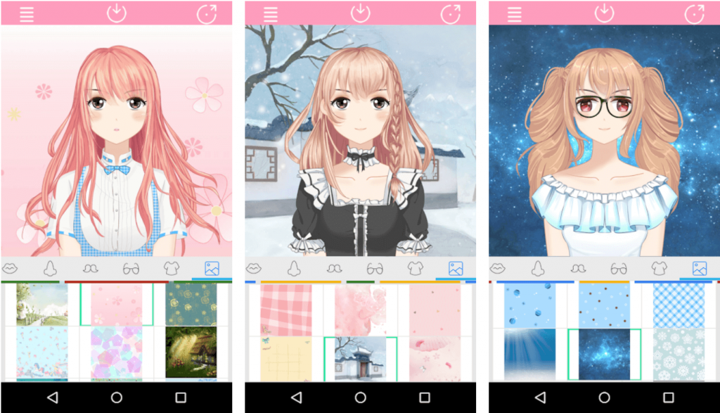 Japanese cartoon character maker Anime avatar maker 2 screenshot